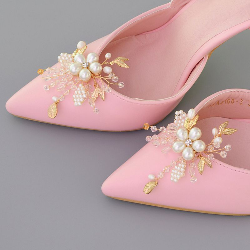 Shoe Clip Crystal Pearls High Heel Decoration Beads Floral Charms DIY Shoes Women Lady Elegant Fashion Buckle Removable Clips