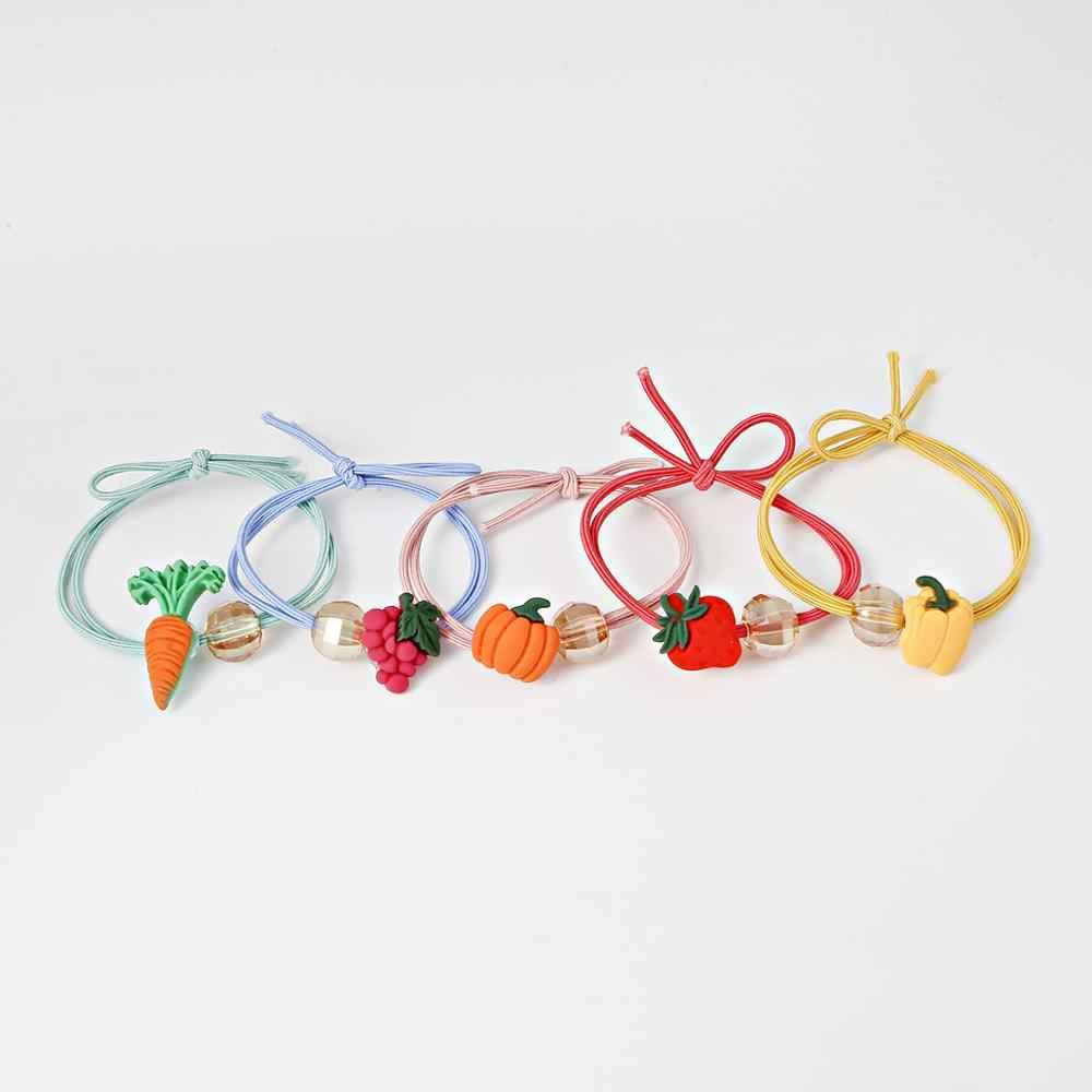 2019 милые фруктовые резинки для волос галстуки-бабочки для девочек резинки динозавр повязки для женщин конский хвост держатель волос аксессуары