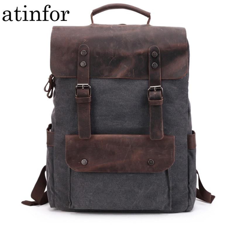 Waterproof Canvas Vintage Backpack Men Large Travel Rucksack Laptop Bag Real Cow Leather Bagpack College Students
