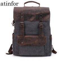 Waterproof Canvas Vintage Backpack Men Large Travel Rucksack Laptop Bag Real Cow