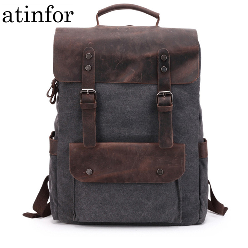 Waterproof Canvas Vintage <font><b>Backpack</b></font> Men Large Travel Rucksack Laptop Bag Real Cow <font><b>Leather</b></font> Bagpack College Students School Bookbag image