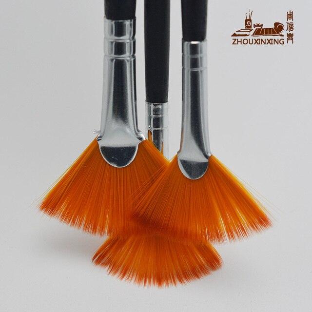 3Pcs/Set Kids Student fan shap Gouache Painting Pen Nylon Hair Wooden Handle Paint Brush set Drawing Art Supplies