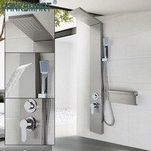 Bathroom Shower Column Contemporary Fashion Luxury Shower Panel Hand Shower Massage Jets Brushed Nickle Plate Shower Faucet