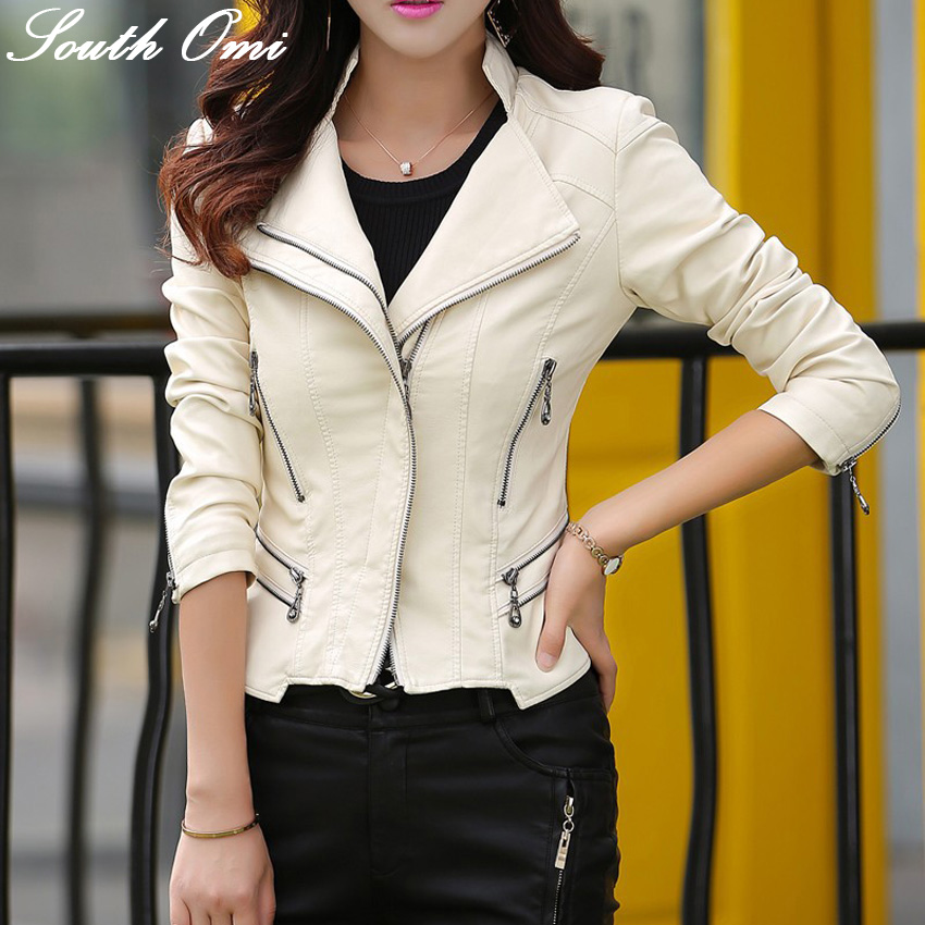 Spring New 2016 White Leather Jacket Women's Pink Blue Long-sleeved Faux Jackets Women jacket Clothing - South Omi Fashion store