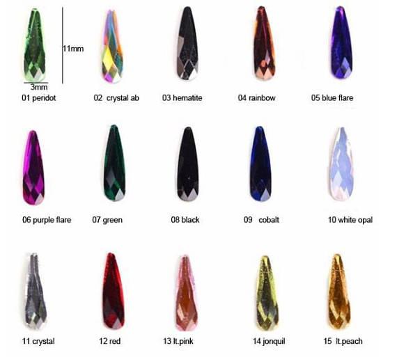AAAA 20 pcs Teardrop Pedrinhas Nail Art 3*10 Flatbacks Nenhum Hotfix dois milímetros nail art strass CRISTAL AB (0001 AB) * frete Grátis,