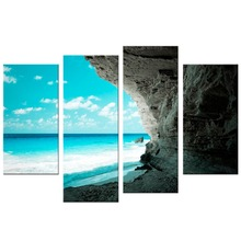4 Pcs/Set sea Island Canvas Painting Home Decoration Pictures Wall For Living Room Modular
