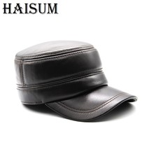 2018 Winter mens genuine leather cap warm hat baseball cap with ear flaps russia flat top caps for men casquette CS90(China)