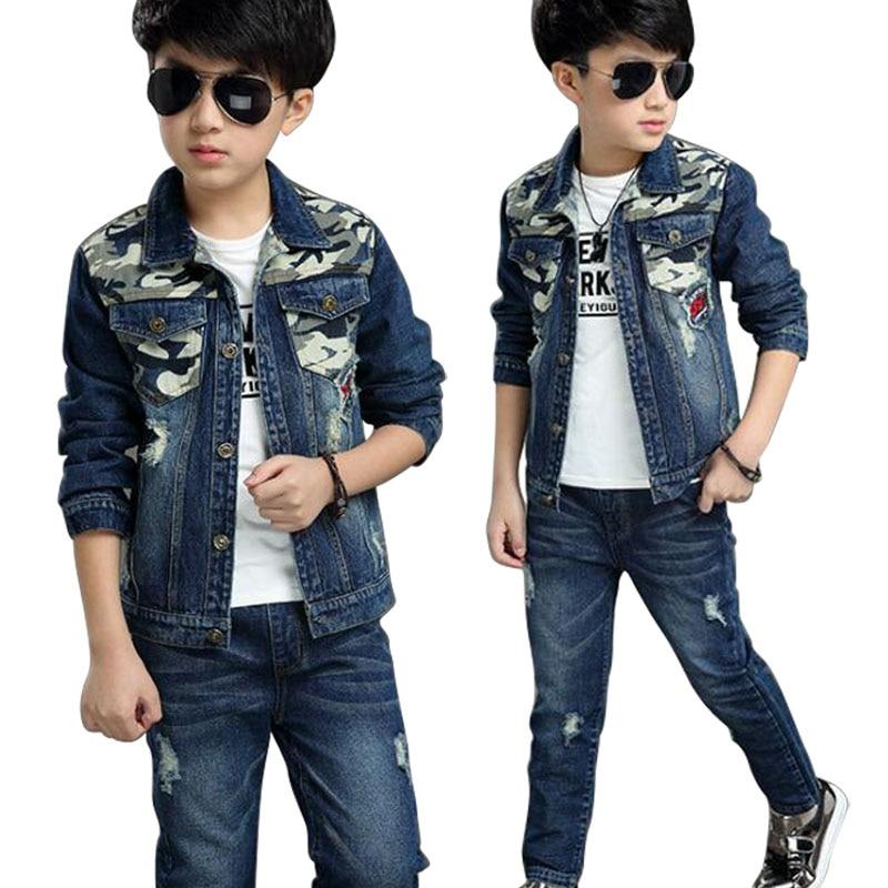 Baby Boys Clothing Set 2019 Fashion Boys Suits Denim Jeans Coat 2PCs Sets Toddler Kids Casual Clothes Suit Children Clothing Set