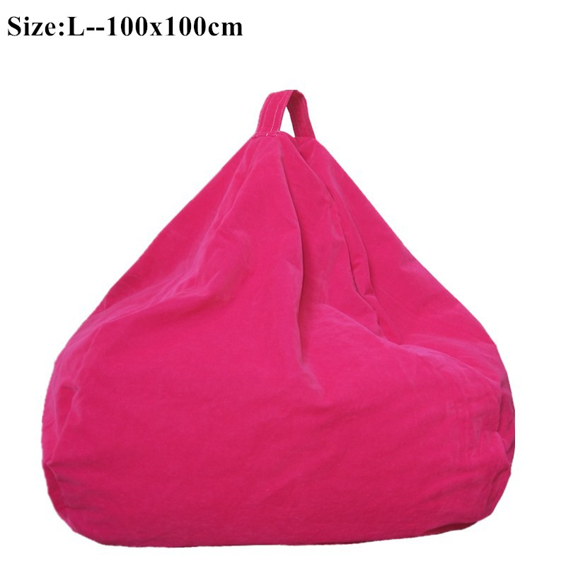 Bean Bag Sofa Cover Chairs Lazy Seat Puff Beds Flocking Fabric Lazy BeanBag Sofas Without the Filler Lounger Seat Tatami Home