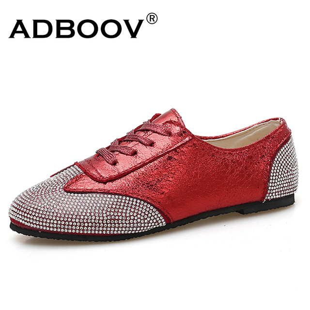 ABDOOV Fashion glitter shoes women Round Toe Flat Shoes Lace Up ladies  shoes casual Loafers buty damskie Red Black Silver 372e58d4f747