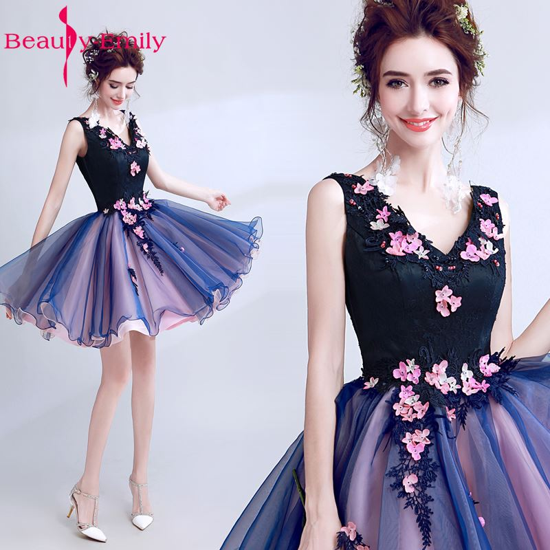 Beauty Emily Blue Pearls Wedding Party   Bridesmaid     Dresses   2017 Girl A-Line Beading Lace Organza Formal Occasion   Dresses