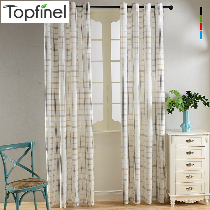 Top Finel New Cotton Linen Blending Plaid font b Tartan b font Sheer Voile Curtains for