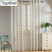 Top Finel New Cotton Linen Blending Plaid Tartan Sheer Voile Curtains for Living Room Tulle Curtain Bedroom Kitchen Room Divider
