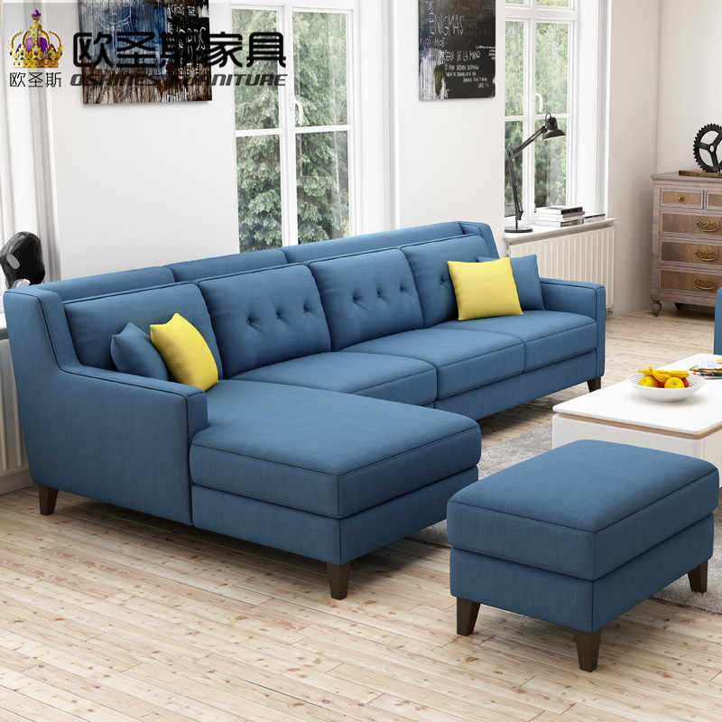 New Arrival American Style Simple Latest Design Sectional L Shaped Corner Livingroom Furniture Fabric Sofa Set Prices List F76F