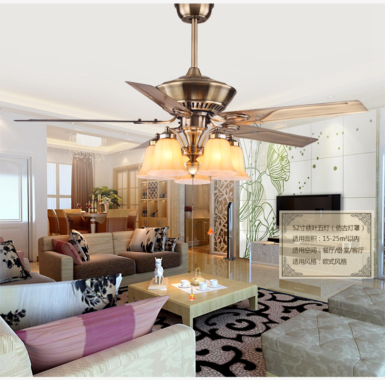 Minimalist Dining Room Pendant Ceiling Fan Light Living Room Bedroom  European Iron Leaf Pendant Fan Ceiling