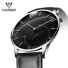 CADISEN Luxury Brand Mens Watches Ultra Thin Dial Quartz Watch Casual Leather Strap Male Clock Business Waterproof Wristwatch цена
