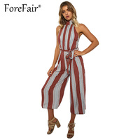 Forefair Fashion Striped Jumpsuit Calf Length Wide Leg Pants Romper Women Sleeveless Backless Turtleneck Overalls