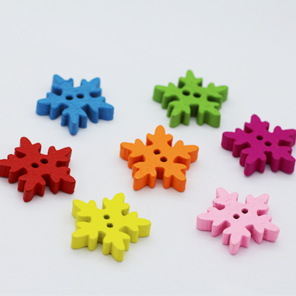 100pcs Christmas Holiday Wooden Collection Snowflakes Buttons Snowflakes Embellishments 18mm Creative Decoration Home & Garden