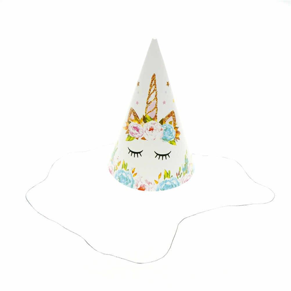 6 шт./лот Мода День Рождения шапки Baby Shower партии Hat Декор поставки дети мультфильм Единорог тема бумаги