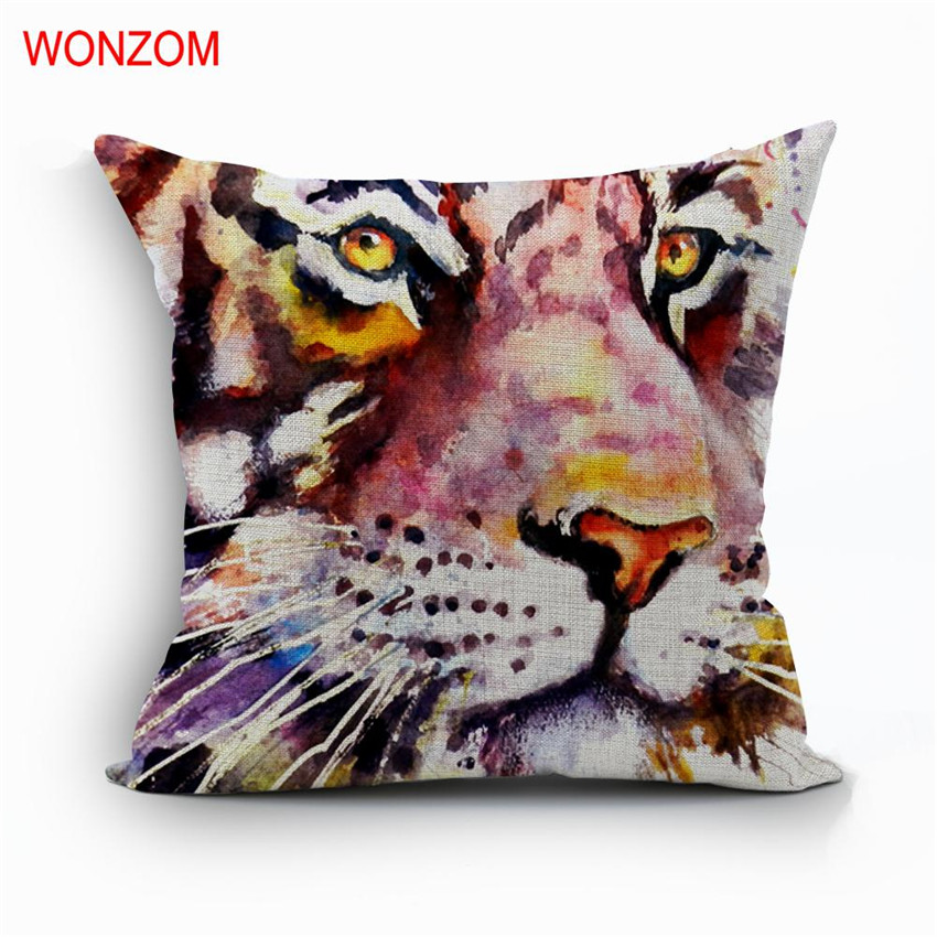 Cojines Tiger.Wonzom Tiger Cojines Decorative Pillow Cover For Animal Cat Throw Bear Pillow Cases 2017 New Home Gift In Pillow Case From Home Garden On