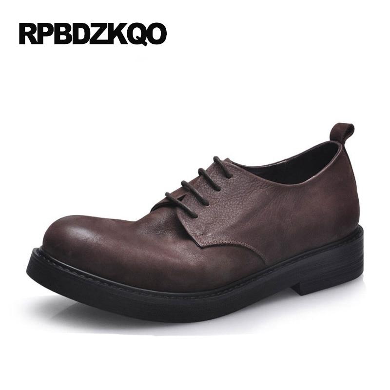 Италия дерби Натуральная кожа мужская обувь итальянская Настоящая бизнес формальный платье Работа настоящая Европейская коричневый