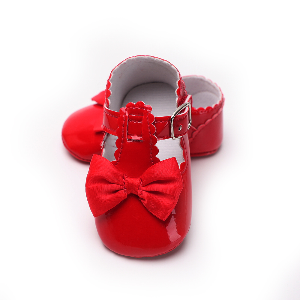 baby shoes for bebe girl crib shoes newborn 0-18 M soft sole PU leather princess moccasins footwear moccs sweet red pink white