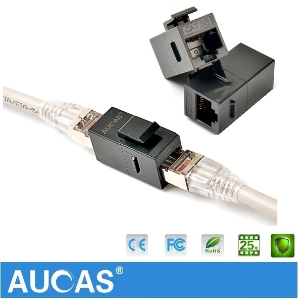 5PCS AUCAS High Quality RJ45 Cat5E Keystone RJ45 Adapter modular kabllor i rrjetit Transportues Falas