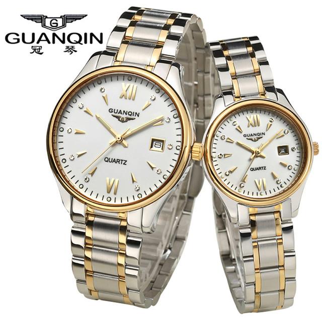 De alta Qualidade Da Marca de Luxo GUANQIN Relógios Sapphire Ama Relógios À Prova D' Água Assistir Casais Par Quartzwatches para Casais apaixonados