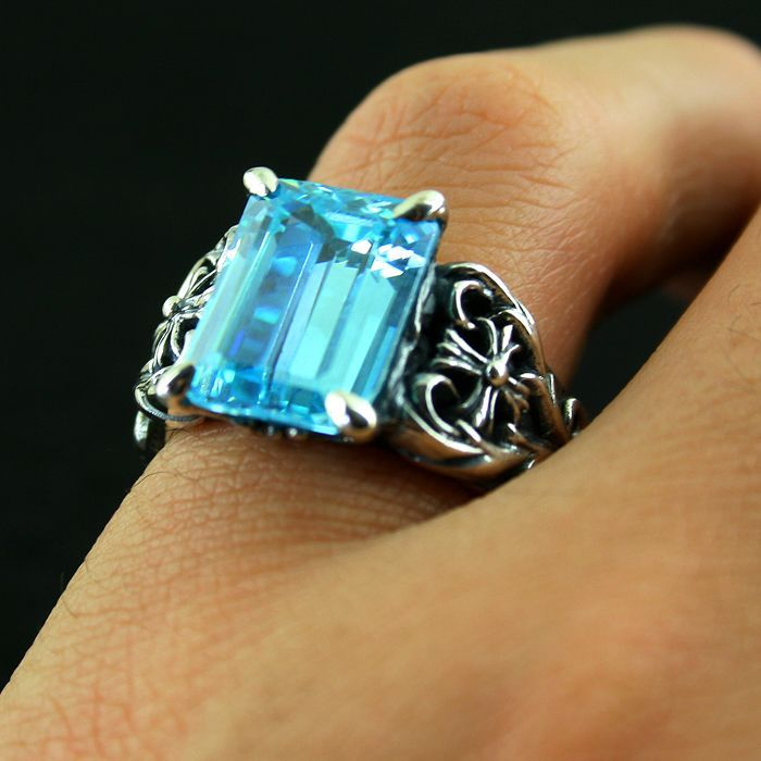 Justin davis 925 pure silver ring blue square drill thai silver male female vintage ring santa claus