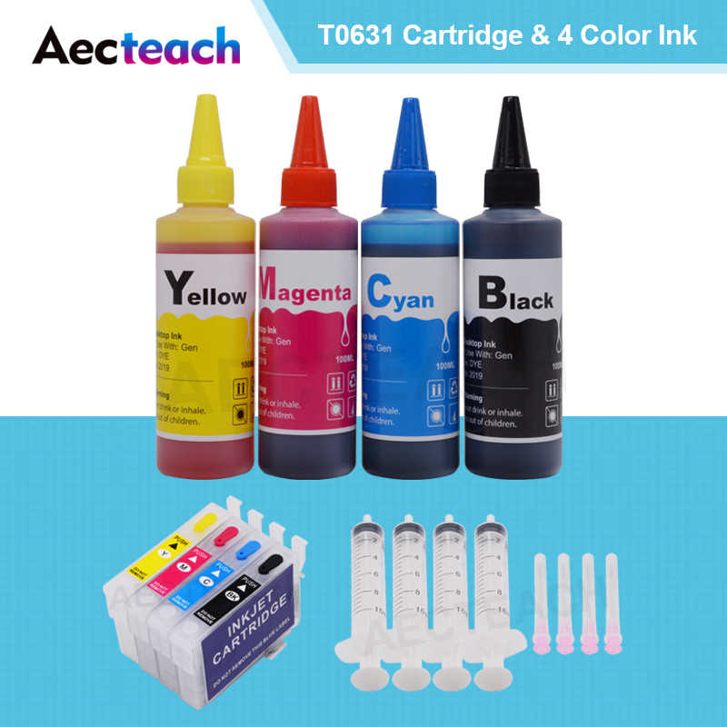 Aecteach untuk Epson T0631 Ink Cartridge STYLUS CX4100 CX4700 CX3700 C67 C87 C87PE Cartridge + untuk Printer Epson Tinta Isi Ulang 400 Ml