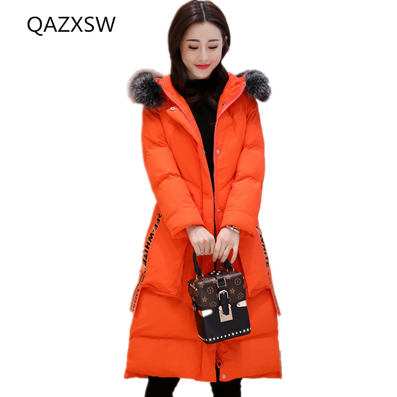 rose Red Veste Externe Mince Femmes Casual Grand camarel Sauvage Section De Nouveau Coton Fourrure D'hiver Mode Col Capuchon 2018 Colour orange Dq229 Épaisse À Manteau Occasionnel Black 47Fqw6H
