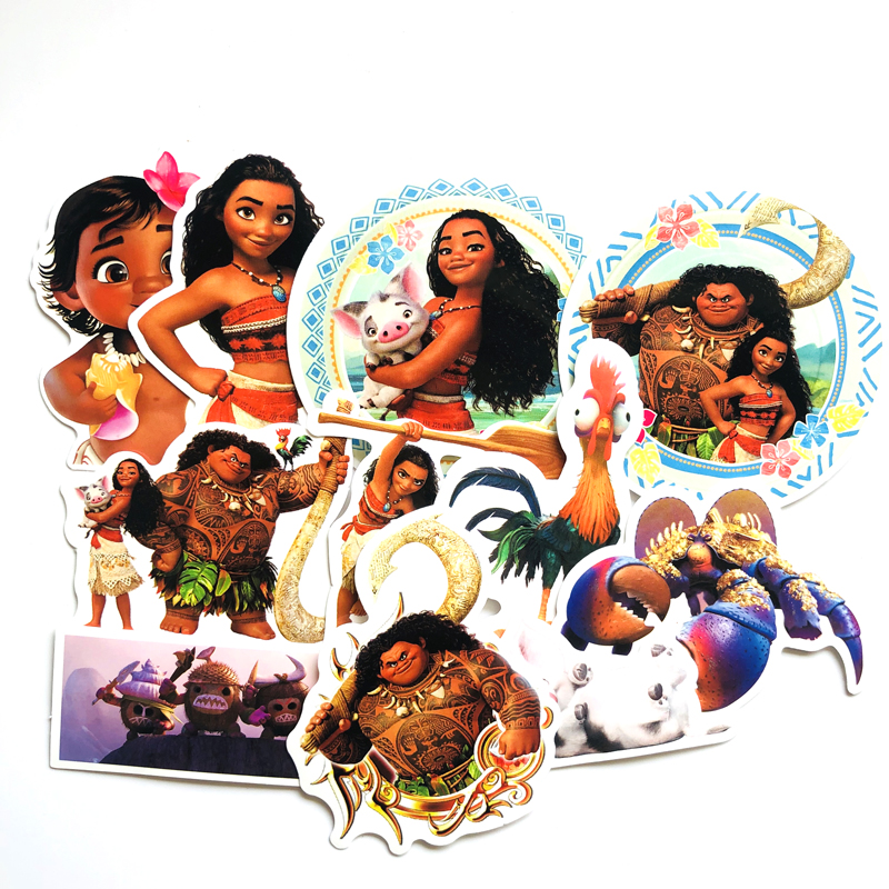 Moana Toy Vaiana Boneca Funny PVC Sticker 11Pcs/set Decal For Car Laptop Bicycle Motorcycle Notebook Waterproof Wall Stickers