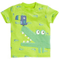 2016 New Summer Kids Tshirt 100%Cotton cartoon crocodile embroidered brand tops Short Sleeves boy's girls baby T shirts