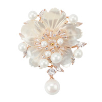 CZ Cubic Zircon Flower Brooch With Imitation Pearl Pendant White Gold Gold Plated Shell Brooch BR2131