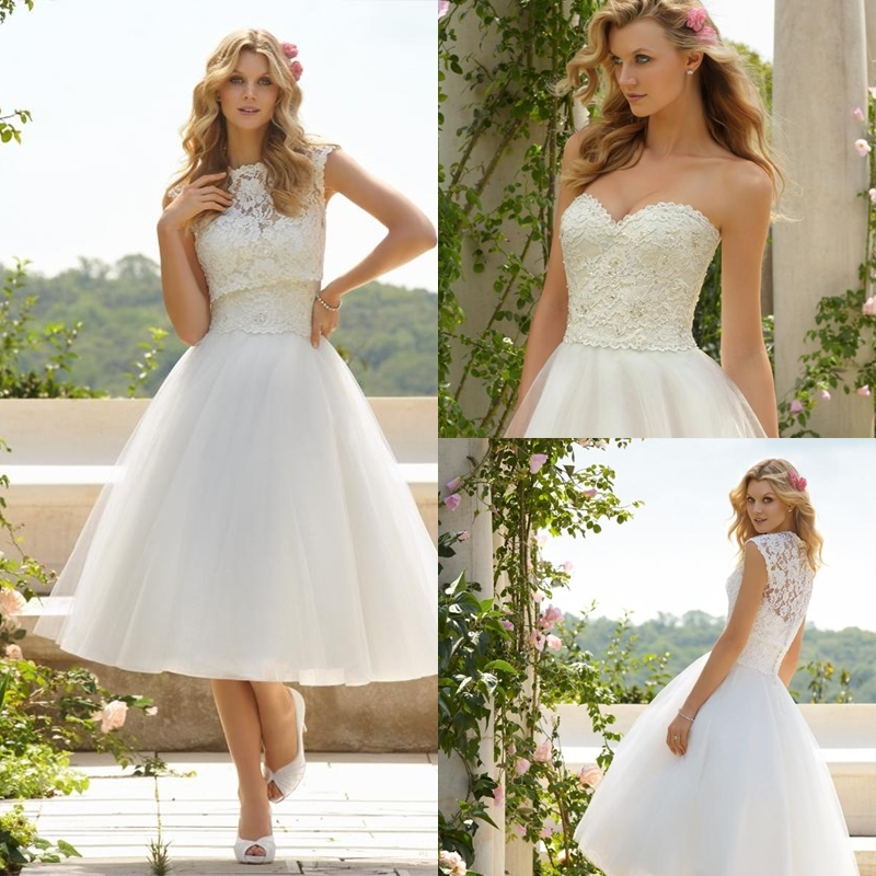 Ball gown sweetheart lace tulle tea length little white for Summer style wedding dresses