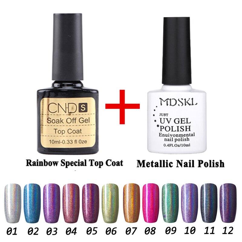 MDSKL 2 Pcs/ensemble 10 ML Gel Vernis À Ongles Arc-En-Série Lampe UV Soak Off Glitter Gel Polish 12 Couleurs Pour choisir