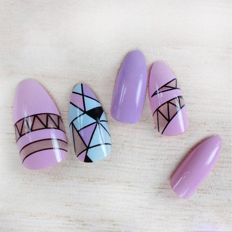 24pcs/ Box False Nails With Glue Long Sharp French Nail Art Tips Acrylic Full Shining Stiletto Nails Tips Almond Oval Faux Ongle