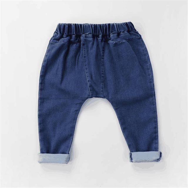 Primavera otoño niño solid jeans infantil chicos chicas sólido azul denim harén pantalones casuales bebé pantalones niños jeans de moda 1-5 T