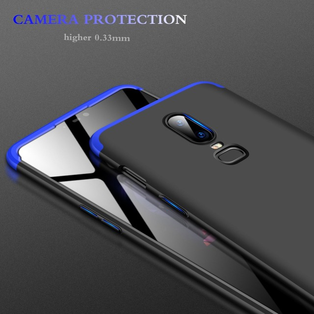 GKK Case for Oneplus 6 Case 360 Full Protection Shockproof Matte Comfortable Feel Hard PC 3 In 1 for oneplus6 Cover Free Glass 3