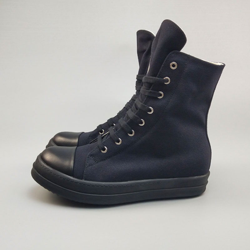 Повседневная мужская обувь из холстины; роскошные высокие кроссовки на шнуровке и молнии; Весенняя Мужская классическая черная Повседневная Брендовая обувь на плоской подошве - 2