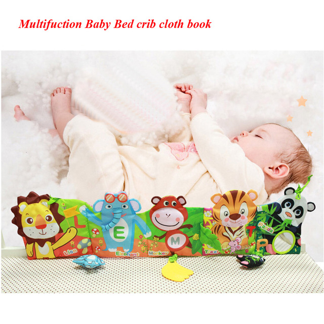 Baby crib Cloth Books Multifunction bed learning musical mobile toys Early Educational Development cot playpens first book Toy