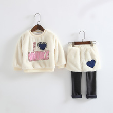 Children s clothing sets a baby clothing sets thickening warm clothes of wool rabbit hair toddler