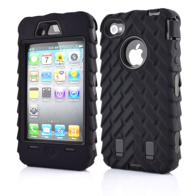 new concept 3b4eb 14e5c For Apple Iphone 4S 4 5 5S SE PC + Silicone Anti Shock Impact Full Body  Armor Iphone 4 5 S Rugged Tire Grain Skid Cover