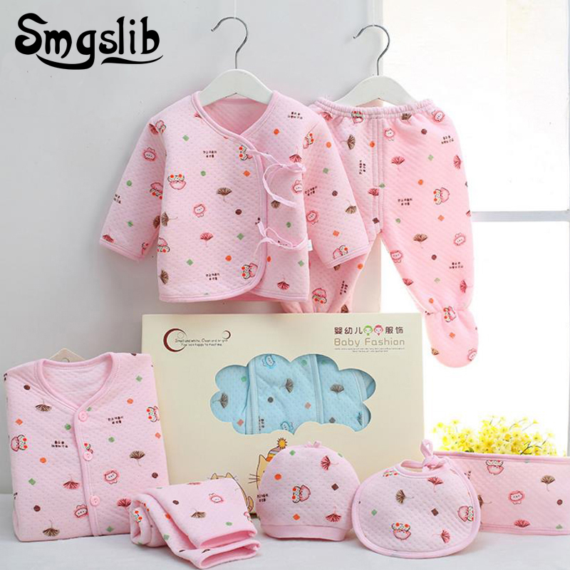 Baby girl clothes 7pieces/lot Autumn Newborn Cotton Body Baby Long Sleeve Underwear Infant Girl Clothes Tracksuit Set Outfit 2pcs children outfit clothes kids baby girl off shoulder cotton ruffled sleeve tops striped t shirt blue denim jeans sunsuit set