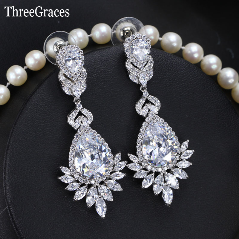 Threegraces Gorgeous Cz Stone Pave Large Flower Long