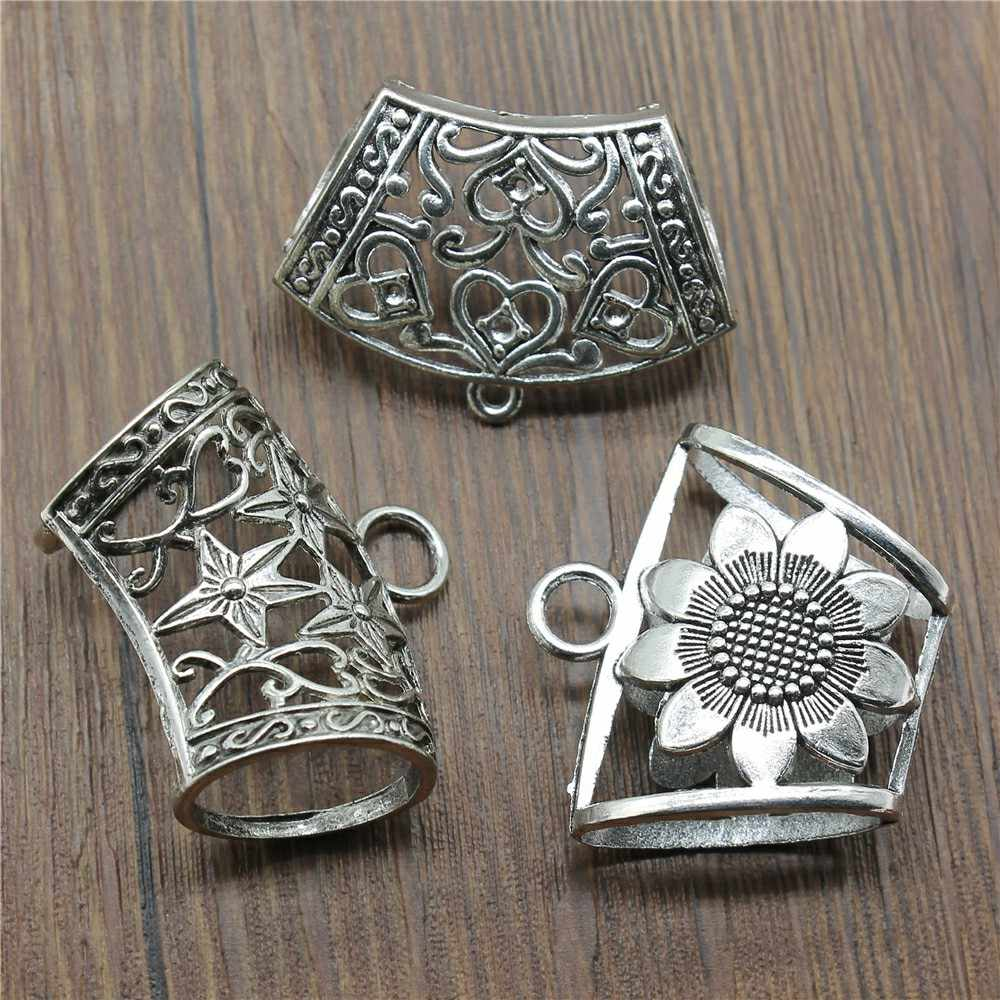 3pcs/lot Antique Silver Connector Scarf Bail Beads Pendants For Wrap Scarf Charms Bail Beads For Wrap Scarf Charms Connector