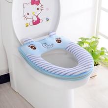 Fashion Toilet Seat Cover Mat Warm Cartoon Elephant Duck Cute Bear Animal Washable Bathroom Soft Pedestal Pan WC