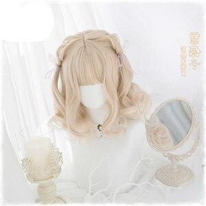 Image 3 - 일본 코스프레 그라디언트 옹 브르 가발 여자 로리타 공주 소녀 매일 짧은 곱슬 머리 합성 머리 + 가발 모자