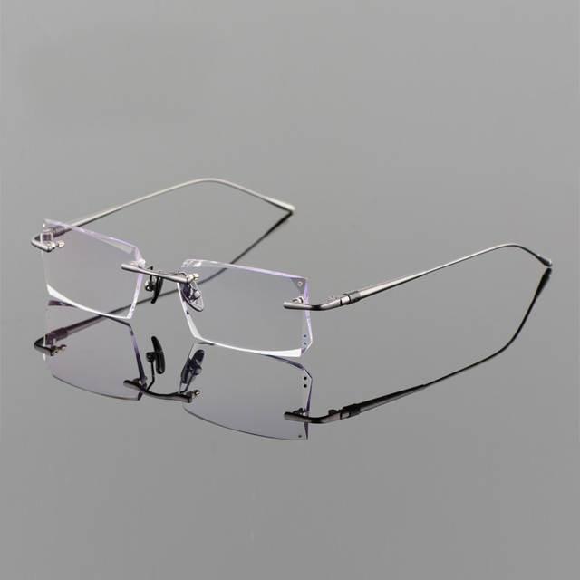 e50742fb68 Online Shop Titanium Alloy Eyeglasses Men Rimless Prescription Optical Frame  Photochromic Progressive Glasses Frameless Spectacle 258100
