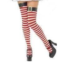 Abbille Mody Sexy Ciepłe Wysokiej Over the Knee Socks Udo długie Pończochy Bawełniane Dla Dziewczyn Ladies Kobiety Red Striped Pończochy 2017